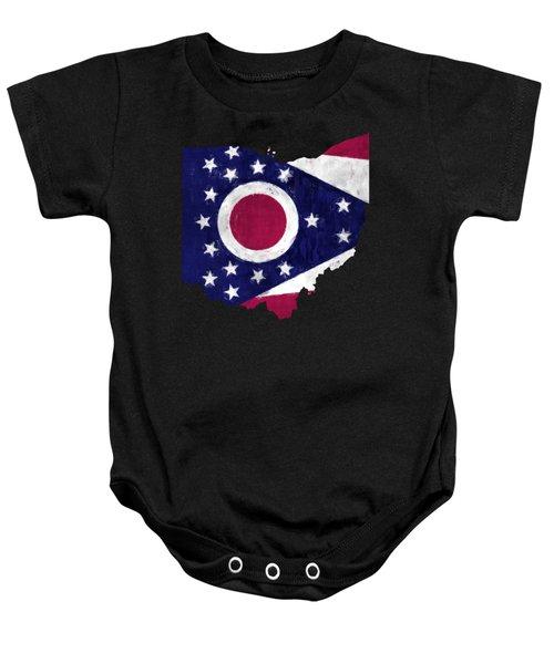 Ohio Map Art With Flag Design Baby Onesie