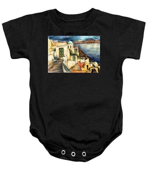 Oia Santorini Greece - Watercolor Baby Onesie