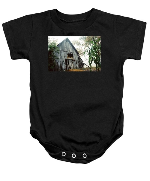 Old Barn In The Morning Mist Baby Onesie