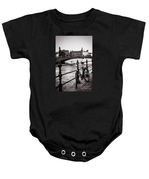 Old Bicycle In Central Stockholm Baby Onesie