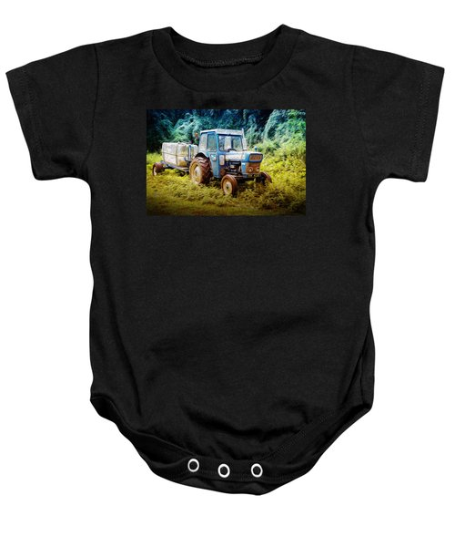 Old Blue Ford Tractor Baby Onesie