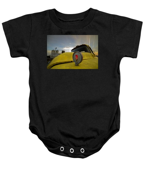 Old Chevy Truck With Grain Elevators In The Background Baby Onesie