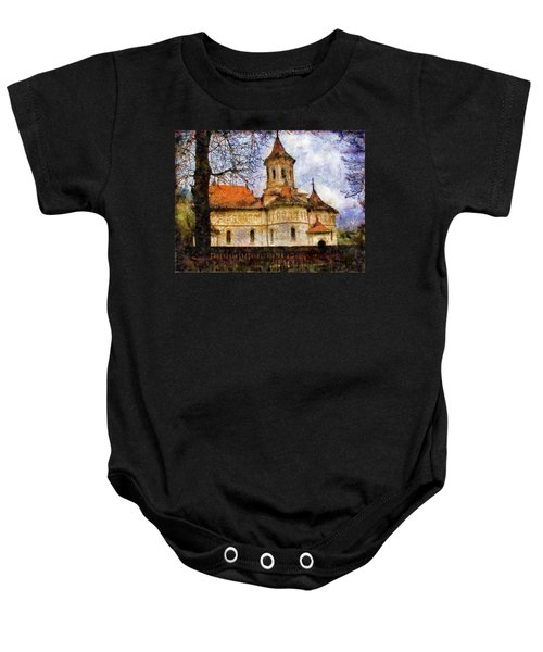 Old Church With Red Roof Baby Onesie