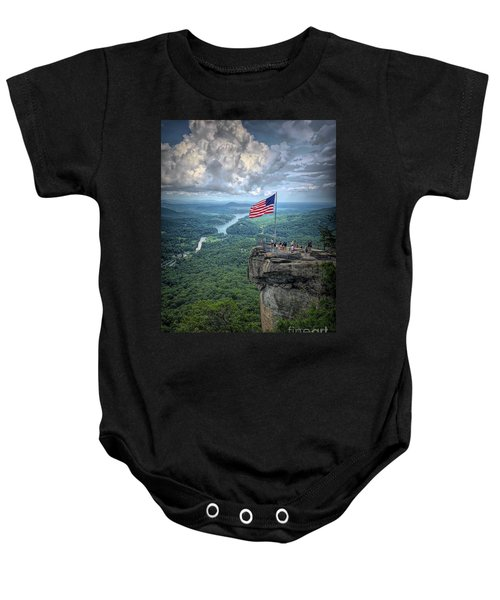 Old Glory On The Rock Baby Onesie