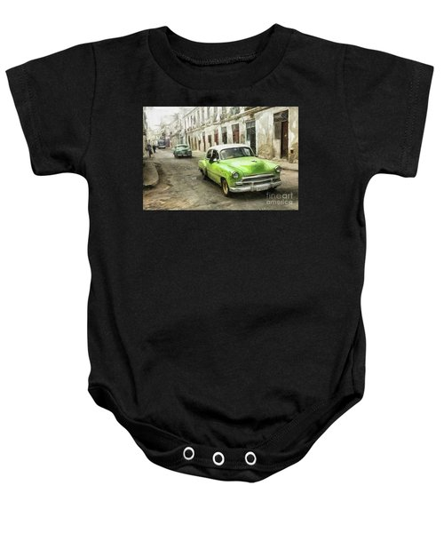 Old Green Car Baby Onesie