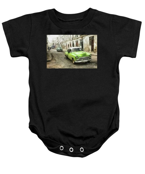Old Green Car Baby Onesie