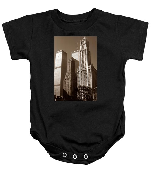Old New York Photo - Woolworth Building And World Trade Center Baby Onesie