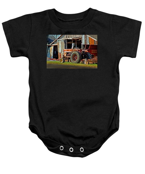 Old Red Tractor And The Barn Baby Onesie