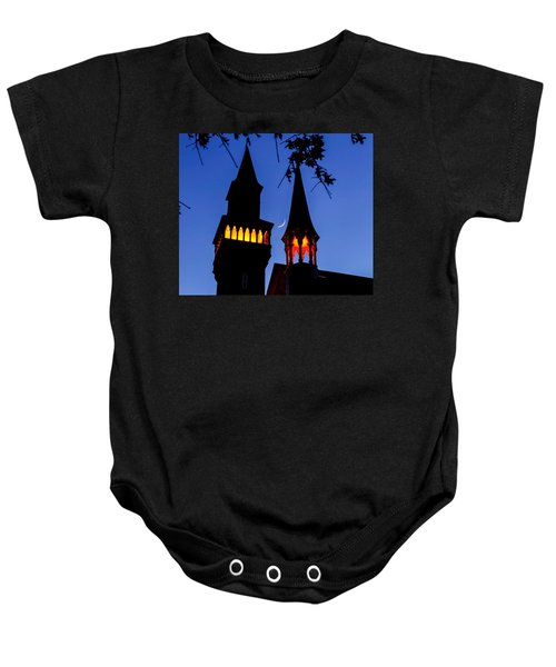 Old Town Hall Crescent Moon Baby Onesie