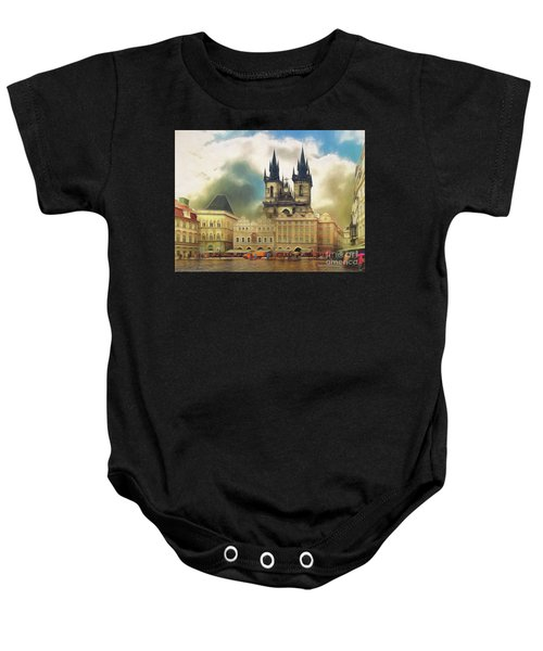 Old Town Square Prague In The Rain Baby Onesie