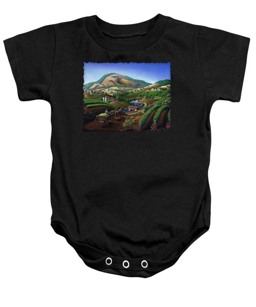 Old Wine Country Landscape - Delivering Grapes To Winery - Vintage Americana Baby Onesie