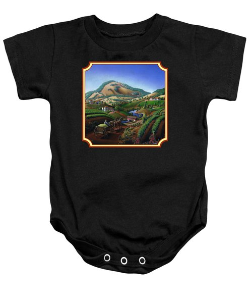 Old Wine Country Landscape Painting - Worker Delivering Grape To The Winery -square Format Image Baby Onesie