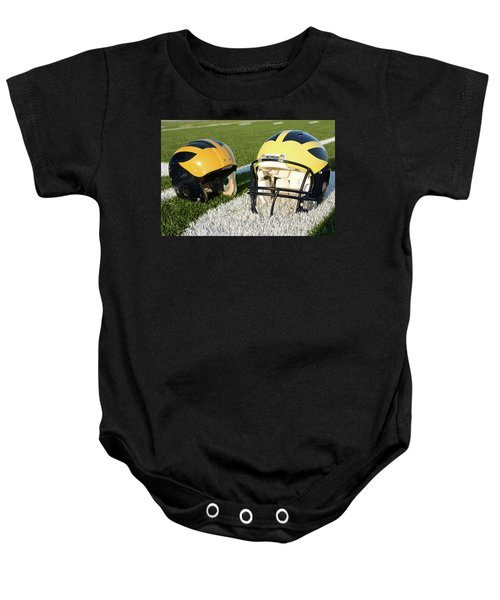 One Old, One New Wolverine Helmets On The Field Baby Onesie