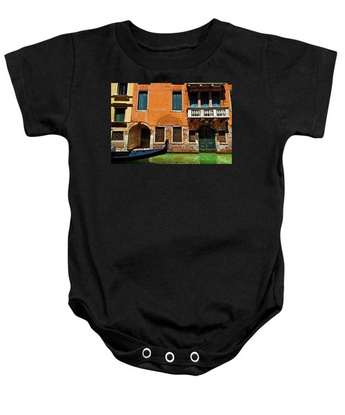 Orange Building And Gondola Baby Onesie