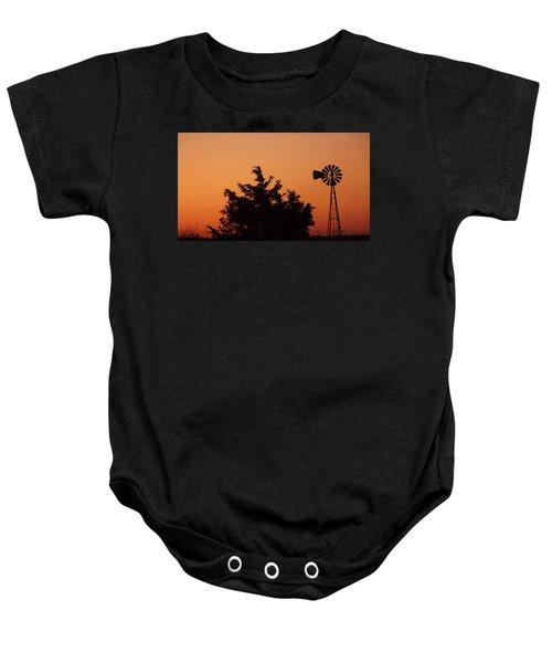 Orange Dawn With Windmill Baby Onesie