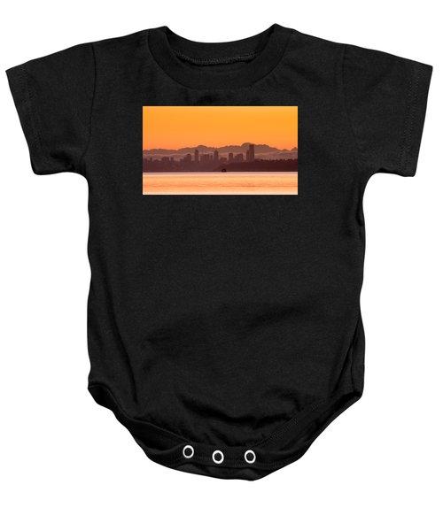 Seattle Skyline In Orange Baby Onesie