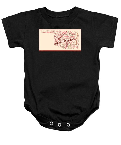 Ou Word Art University Of Oklahoma Baby Onesie by Roberta Peake