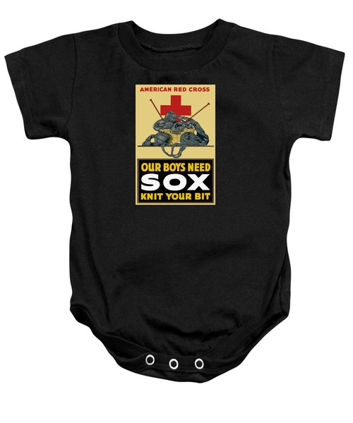 Our Boys Need Sox - Knit Your Bit Baby Onesie
