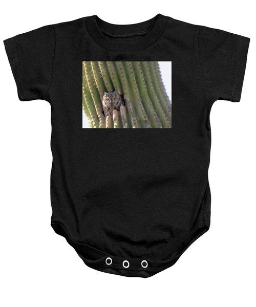Owl In Cactus Burrow Baby Onesie