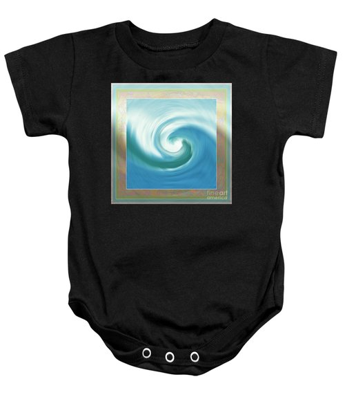 Pacific Swirl With Border Baby Onesie