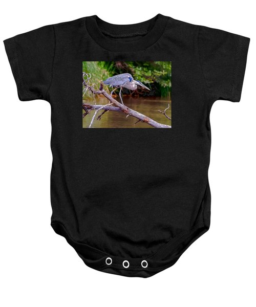 Painting Blue Heron Oak Creek Baby Onesie by Dr Bob Johnston
