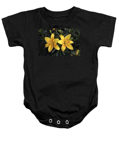 Pair Of Yellow Lilies Baby Onesie