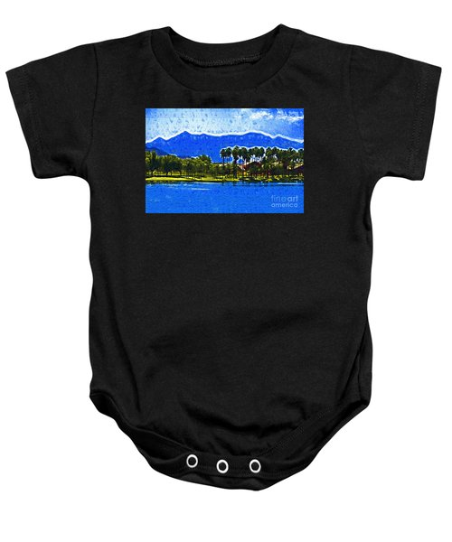 Palms And Mountains Baby Onesie