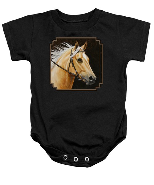 Palomino Horse Portrait Baby Onesie by Crista Forest