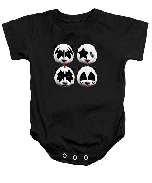 Panda Kiss  Baby Onesie by Mark Ashkenazi