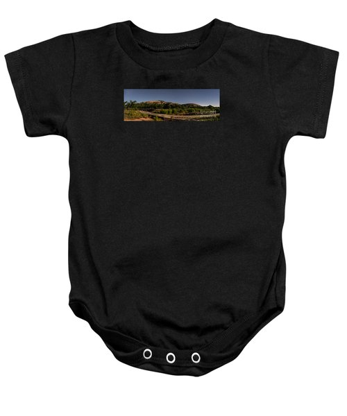 Panorama Of Enchanted Rock At Night - Starry Night Texas Hill Country Fredericksburg Llano Baby Onesie