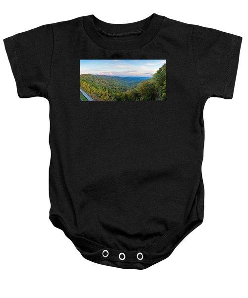 Panoramic October Views Of Smokey Mountain National Park Baby Onesie