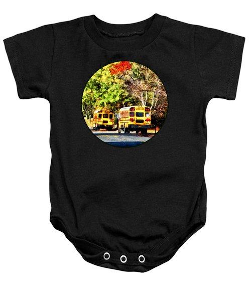 Parked School Buses Baby Onesie
