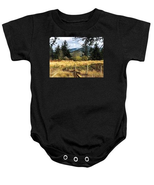 Pasture, Trees, Mountains Sky Baby Onesie