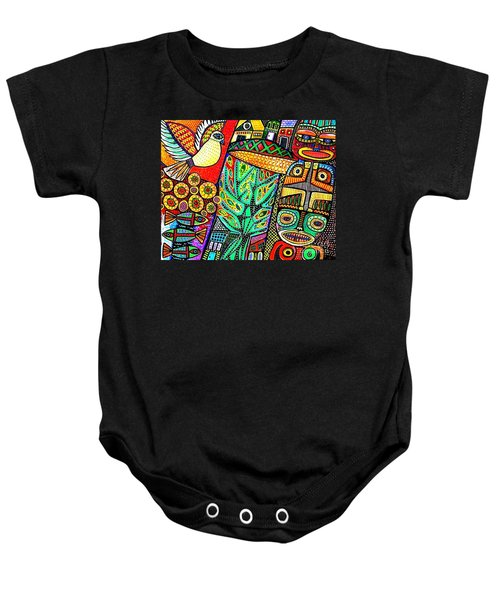 Peace Dove In Totem Forest Baby Onesie