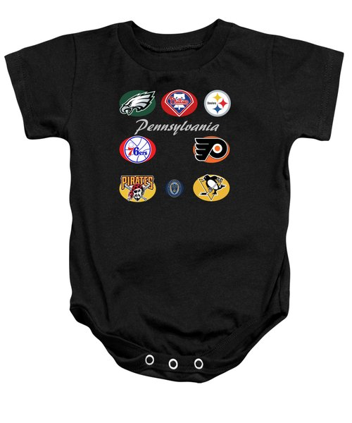 Pennsylvania Professional Sport Teams Collage  Baby Onesie by Movie Poster Prints