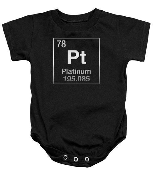 Periodic Table Of Elements - Platinum - Pt - Platinum On Black Baby Onesie