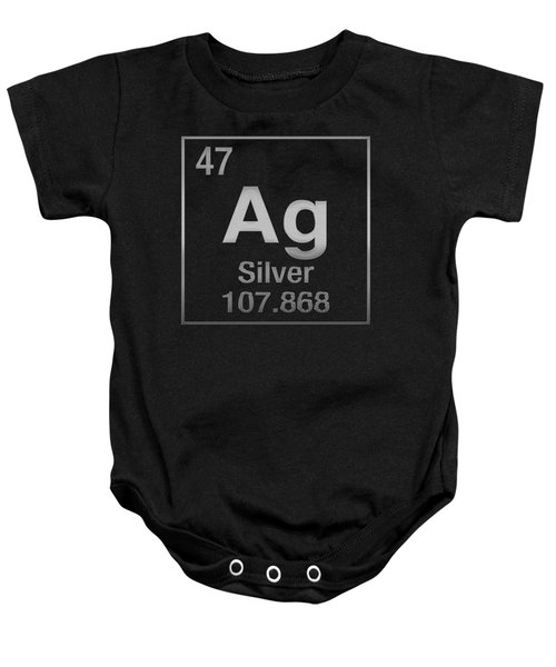 Periodic Table Of Elements - Silver - Ag - Silver On Black Baby Onesie
