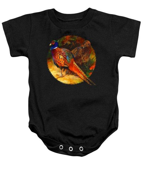 Pheasant Pair Baby Onesie by Raven SiJohn