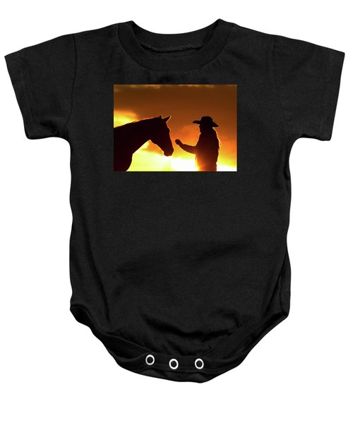 Cowgirl Sunset Sihouette Baby Onesie