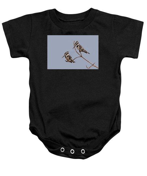 Pied Kingfisher Pair Baby Onesie