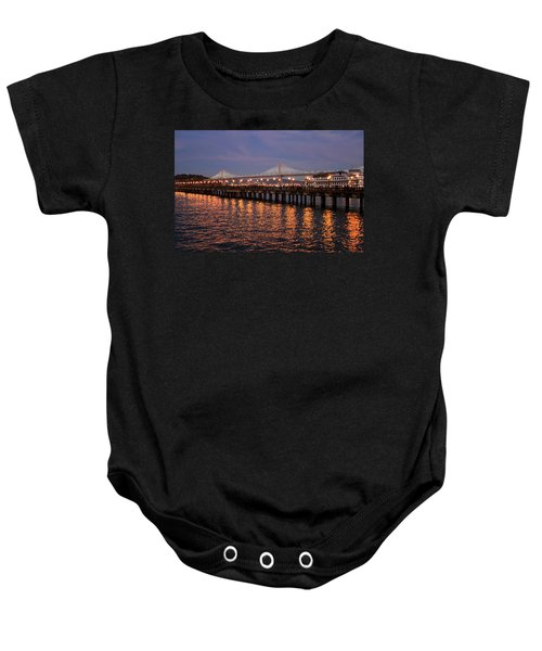Pier 7 And Bay Bridge Lights At Sunset Baby Onesie