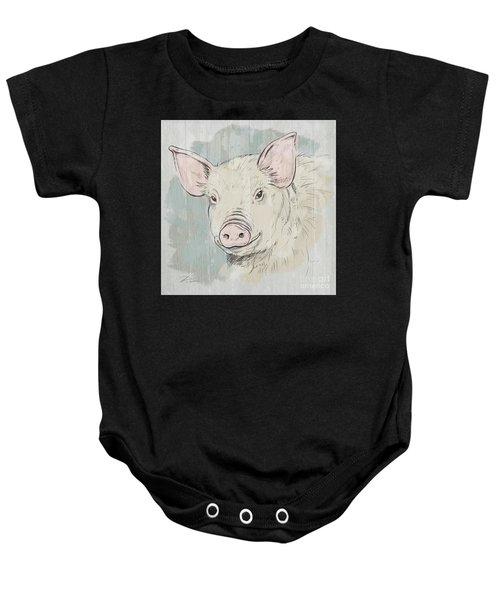 Pig Portrait-farm Animals Baby Onesie