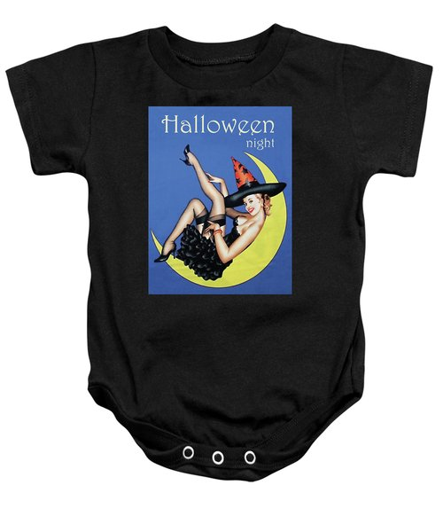 Pin Up Witch On Moon Baby Onesie