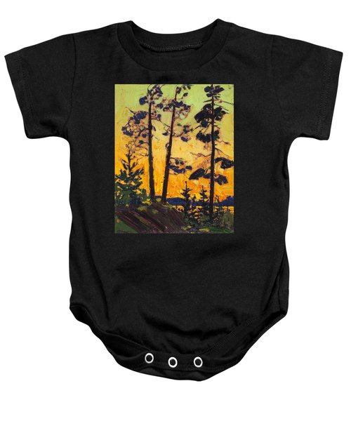 Pine Trees At Sunset Baby Onesie