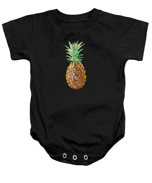 Pineapple On Black Baby Onesie