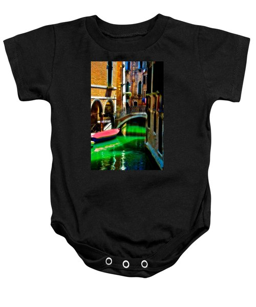 Pink Boat And Canal Baby Onesie