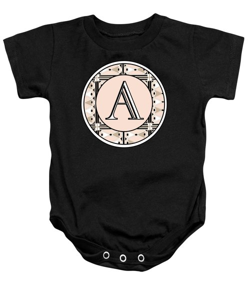 Pink Champagne Deco  Monogram  A Baby Onesie