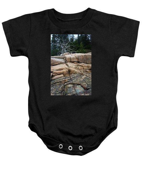 Pink Granite And Driftwood At Schoodic Peninsula In Maine  -4672 Baby Onesie