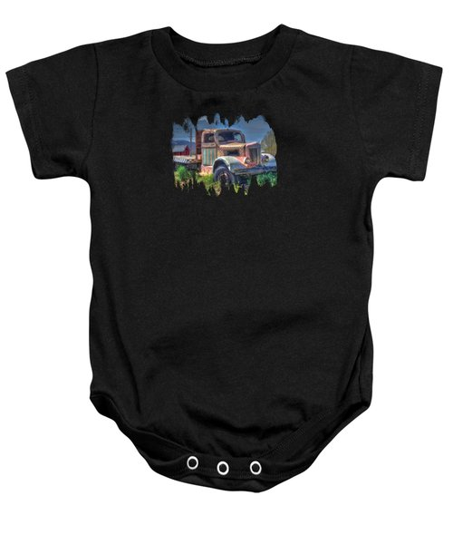 Classic Flatbed Truck In Pink Baby Onesie