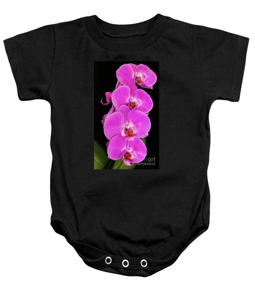 Pink Orchid Against A Black Background Baby Onesie